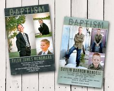 Boy Baptism Invitation 3 picture photo card. $13.00, via Etsy.