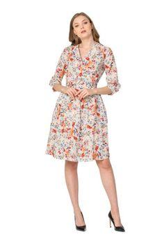 Rochie din bumbac HITAI -  Ama Fashion Dresses For Work, Floral, Fashion, Moda, Fashion Styles, Flowers, Fashion Illustrations, Flower