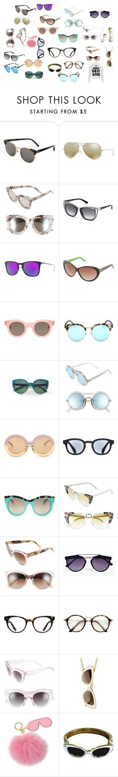 """""""All The Shade !!!"""" by foreignasf162000 ❤ liked on Polyvore featuring Linda Farrow, Ray-Ban, Quay, Swarovski, Lilly Pulitzer, Sun Buddies, Mondelliani, Le Specs, Karen Walker and See Concept"""