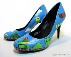 I hate heels, but I would wear these Super Mario ones.