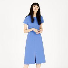 Warehouse, SPLIT FRONT MIDI DRESS Bright Blue 1