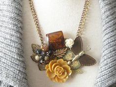 Vintage Jewelry Assemblage Necklace Autumn Garden by terrysgotit