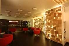 modern cafe design with unique wall tile and lighting