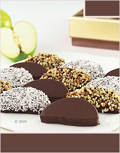 Chocolate or caramel apple slices, easier to eat than the whole apple.