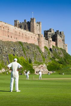 Can't get much more English than this! Cricket at Bamburgh, Northumberland, England