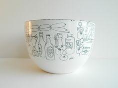 Scandinavian Modern Enamel Bowl with Mid Century Food Graphics. $64.00, via Etsy.