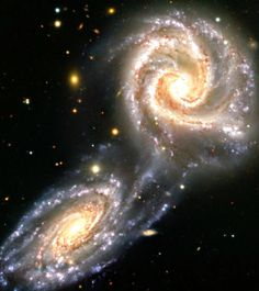 Hubble Space Telescope A present-day near-miss of two spiral galaxies NGC 5426 and NGC which may be comparable to the early flyby of the Andromeda galaxy past our own Milky Way Galaxy. Cosmos, Hubble Space Telescope, Space And Astronomy, Ciel Nocturne, Spiral Galaxy, Space Images, Galaxy Art, Deep Space, Milky Way