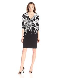 Donna Ricco Womens Plus Size Long Sleeve Printed Fit and Flare High Neck