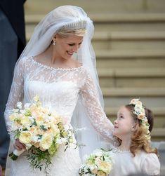 May The wedding of Lady Gabriella Windsor and Mr. Sweet photo of Lady Gabriella Windsor and her Niece Maud Windsor. Royal Wedding Gowns, Royal Weddings, Lace Wedding, Eugenie Of York, Windsor, Adele, Baby Blue Dresses, Wedding Bouquets, Wedding Dresses