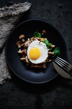 Herbal waffles with greens, champignons and fried egg (recipe)  / by Marta Greber