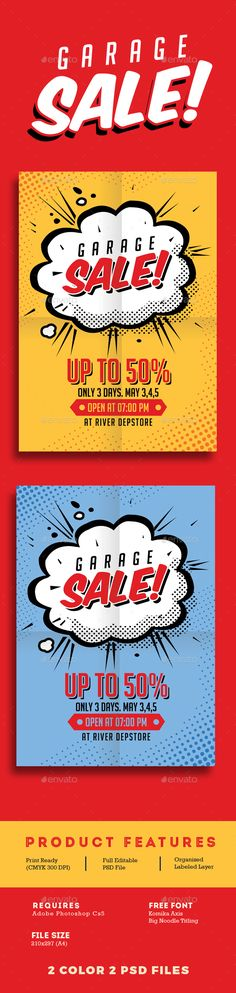 Garage Sale Flyer — Photoshop PSD #full color #retro • Available here → https://graphicriver.net/item/garage-sale-flyer/16273674?ref=pxcr
