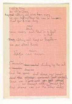 David Bowie's handwritten lyrics for Heroes, 1977.
