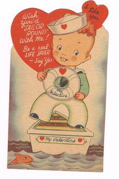 Vintage Valentine 1940s Sailor. $3.00, via Etsy.