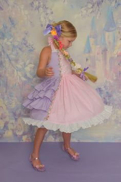 Rapunzel girls princess costume by SoSoHippo on Etsy