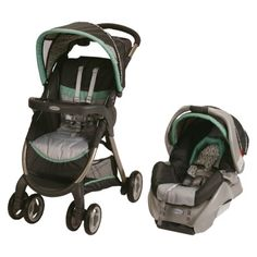 Graco FastAction Fold Classic Connect Travel System - Richmond  I think this one is my favorite, light weight (for a stroller) and cute gender neutral pattern.  :)