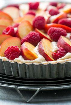 Frangipan French fruit tart recipe with nectarines and raspberries