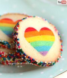 Valentine's Day Rainbow Heart Cookies - Eugenie Kitchen