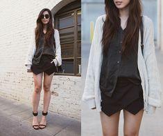Back to Black (by Jenny Ong) http://lookbook.nu/look/4766411-Equipment-Silk-Blouse-Karen-Walker-Harvest-Sunglasses
