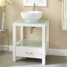 Beige Wall Color And Simple White Wooden Vanity For Cozy Bathroom Ideas With White Bowl Ceramic Vessel Sink Using Wrought Iron Corner Table, Cheap Bathroom Vanities, Contemporary Bathroom Vanities Cheap Bathroom Vanities, Bathroom Vanity Designs, Cheap Bathrooms, Modern Bathroom Design, Amazing Bathrooms, Bathroom Sinks, Bathroom Ideas, Bathroom Cabinets, Bathroom Marble