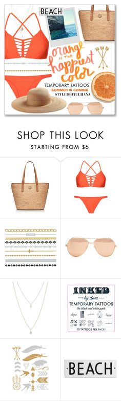 """""""Temporary Tattoos"""" by julijana-k ❤ liked on Polyvore featuring Tory Burch, Luli Fama, KEEP ME, Pantone, Linda Farrow, ASOS, Inked by Dani, Collection XIIX, Rosanna and temporarytattoo"""