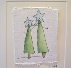 """Watercolor Card Christmas"""" Together Shining Bright"""" With Envelope betrueoriginals"""