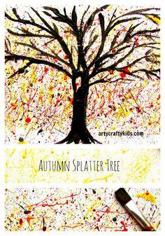 Arty Crafty Kids - Art - Art Ideas for Kids - Autumn Splatter Tree (fall crafts for kids canvas) Autumn Art Ideas For Kids, Easy Art For Kids, Autumn Activities For Kids, Thanksgiving Crafts For Kids, Autumn Crafts, Art Activities, Epic Kids, 4 Kids, Fall Art Projects