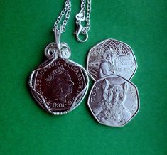 Tom Kitten or Paddington at the Station, UK coins from 2017 Collection, WireWrapped on a Silver chain by VintageIrishDresser on Etsy World Coins, White Gift Boxes, Fathers Day Gifts, Dog Tag Necklace, Toms, Kitten, Pendant Necklace, Chain, Unique Jewelry