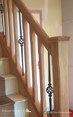 Oak chamfered spindles with Abbott-Wade's black basket spindle.                                                                                                                                                                                 More