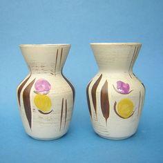 BAY-KERAMIK-West-Germany-PAIR-of-Vases-Mid-Century-Modern-Fat-Lava
