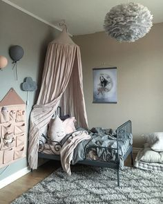Greys and pinks - a charming kids room Pink Bedroom Design, Pink Bedroom Decor, Pink Bedrooms, Master Bedroom Interior, Baby Bedroom, Girls Bedroom, Bedroom Ideas, Ikea Girls Room, Boy Room