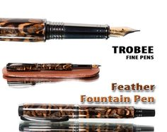 Beautiful fountain pen with feathers perfect gift by TrobeePens, $119.99