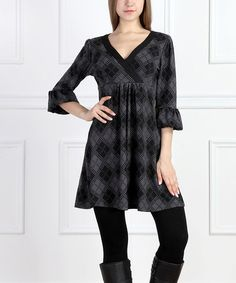 Look what I found on #zulily! Charcoal Plaid Surplice Tunic - Women by Reborn Collection #zulilyfinds