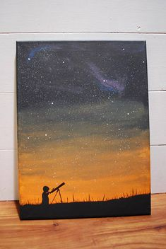 painting Colors Art Universe Stars Telescope Star Gazing Printable Art Canvas Art Brushstroke Canvas Painting Co Beginner Painting, Diy Painting, Painting & Drawing, Star Painting, Sponge Painting, Wall Drawing, Ideas For Canvas Painting, Drawing On Canvas, Acrylic Painting Inspiration