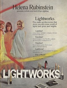 "Eureka!  I found it! 1967 helena rubinstein cosmetics ad for Lightworks collection including ""Splitstick"""