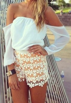 Lace flower shorts