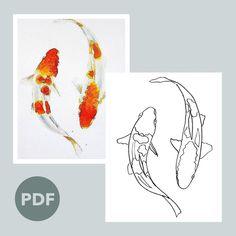 Koi Fish Drawing, Koi Fish Tattoo, Fish Drawings, Outline Drawings, Koi Fish Pond, Koi Carp, Dragon Koi Fish, Koi Tattoo Sleeve, Koy Fish