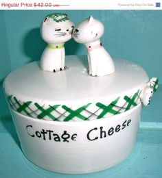 SPRING SALE Vintage Holt Howard Ceramic Covered Dish Cottage Cheese Container Cozy Kitten Collectible Kitchenware Shabby Chic Cottage Chic