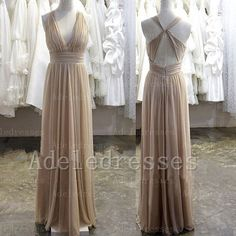 A Line Halter Long Bridesmaid Dress,V Neck Open Back Bridesmaid Dress,Floor Length Cheap Bridesmaid Dress ,Fashion Simple Prom Dress.0716-2
