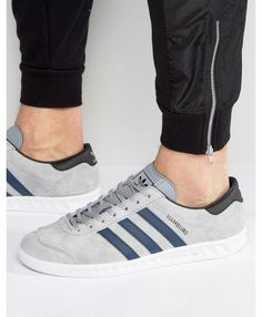 Adidas Hamburg Grey Navy Trainers Clearance Navy Trainers 39d4465af