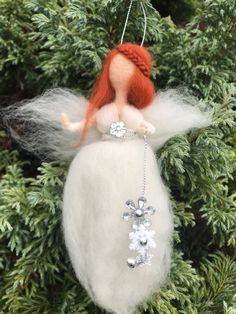 waldorf inspired Christmas Christmas 3 Needle felted guardian  fairies-angels white and gold ornaments grieving
