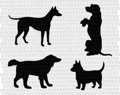 Clipart Silhouettes Dogs Clip Art Digital by luminariumgraphics, $2.95