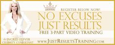 """Join """"No Excuses Just Results"""" FREE 3 - Part Video training. Behind the scenes: when I recorded this, really really different and I know it will MOVE your whole inner and outer self, brand and business to uncharted territories that will astound you and take your breath away... Register here for my """"No Excuses Just Results"""" FREE 3 - Part Video training now: http://www.JustResultsTraining.com/"""