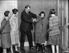 Lady detectives learning their trade. Mr. Kersey is showing them how to apprehend a suspect. April 1927.