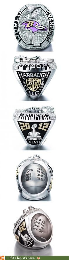 A look at the 2013 NFL Championship ring for the Baltimore Ravens by Jostens,