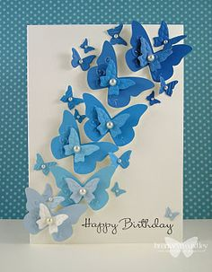 swarm of punched butterflies card