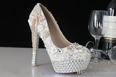 Wholesale 2015 Glitter Crystal Rhinestone Wedding Bridal Shoes Sparkly Pearls Beaded Tie 14CM High Heel Evening Party Prom Round Toe Elegant WS0008, Free shipping, $74.63/Piece   DHgate Mobile