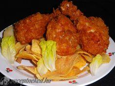 Kukorica pelyhes csirkecomb, burgonya chips, fejes saláta Chips, Tandoori Chicken, Ethnic Recipes, Food, Potato Chip, Essen, Meals, Potato Chips, Yemek