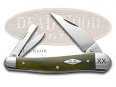 CASE XX Smooth Olive Green Bone Seahorse Whittler 1/500 Stainless Pocket Knife Knives