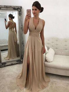 2018 Classic V Neck Champagne Prom Dress Slit Party Gowns Chiffon Long Evening Dress Cheap#hotpromdress#graduationdress#eveningdress#dress#dresses#gowns#partydress#longpromdress