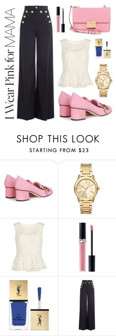 """""""I wear Pink for... mama"""" by mmagdalens ❤ liked on Polyvore featuring Gucci, Michael Kors, Gina Bacconi, Christian Dior, Yves Saint Laurent, RED Valentino, MICHAEL Michael Kors, Pink, contestentry and polyvorecontest"""